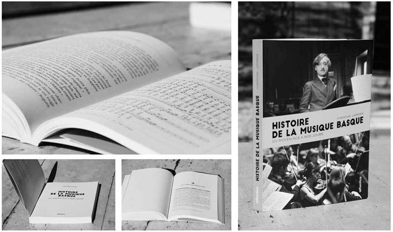 Livre Histoire de la musique basque éd. Atlantica Mathieu Béchac maquettiste PAO