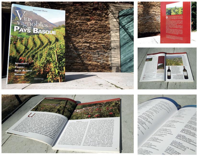 Livre Vins & vignobles du Pays basque éd. Arteaz Mathieu Béchac maquettiste PAO